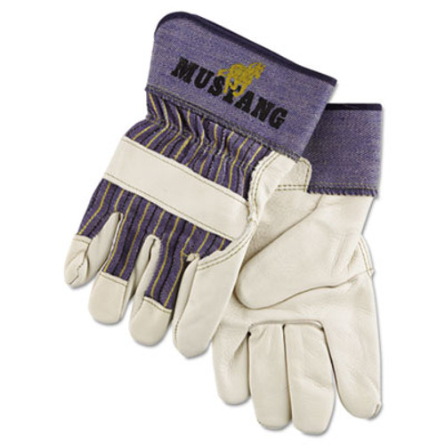 MCR Safety Mustang Leather Palm Gloves  Blue Cream  X-Large  Dozen (MPG 1935XL)