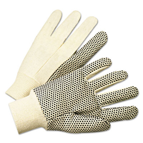 Anchor Brand PVC-Dotted Canvas Gloves  White  One Size Fits All  12 Pairs (ANR1000)