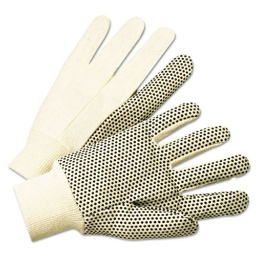 Anchor BrandA 1000 Series PVC Dotted Canvas Gloves, White/Black, Large, 12 Pairs (ANR1005)
