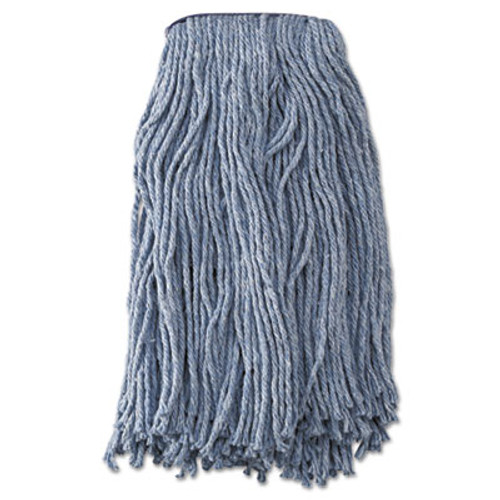 Boardwalk Mop Head, Standard Head, Cotton/Synthetic Fiber, Cut-End, 16oz, Blue, 12/Carton (UNS 2020B)