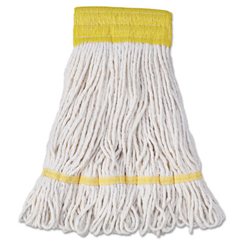 Boardwalk Super Loop Wet Mop Head  Cotton Synthetic Fiber  5  Headband  Small Size  White  12 Carton (UNS 501WH)