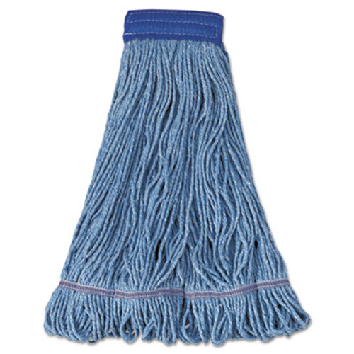 Boardwalk Super Loop Wet Mop Head  Cotton Synthetic Fiber  5  Headband  X-Large Size  Blue  12 Carton (UNS 504BL)