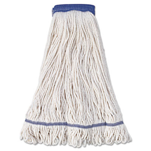 Boardwalk Super Loop Wet Mop Head  Cotton Synthetic Fiber  5  Headband  X-Large Size  White  12 Carton (UNS 504WH)