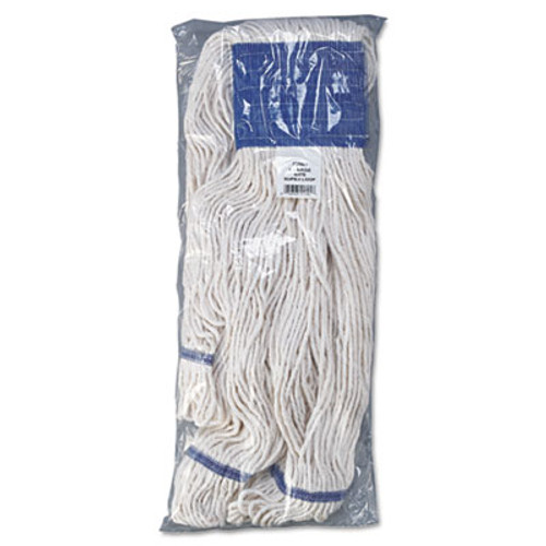 Boardwalk Super Loop Wet Mop Head  Cotton Synthetic Fiber  5  Headband  X-Large Size  White  12 Carton (UNS 504WH)