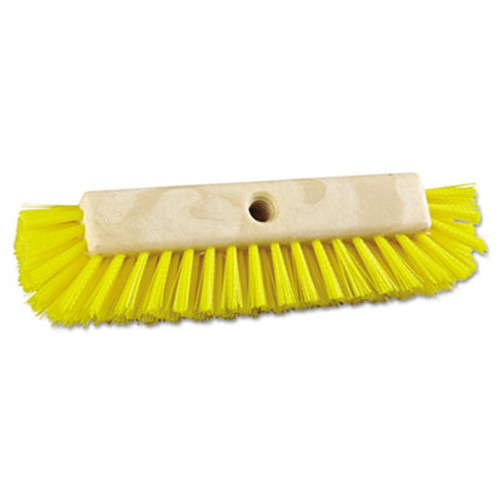 "Boardwalk Dual-Surface Scrub Brush, Plastic Fill, 10"" Long, Yellow (BWK 3410)"