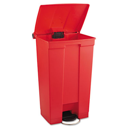 Rubbermaid Commercial Indoor Utility Step-On Waste Container, Rectangular, Plastic, 23gal, Red (RCP 6146 RED)