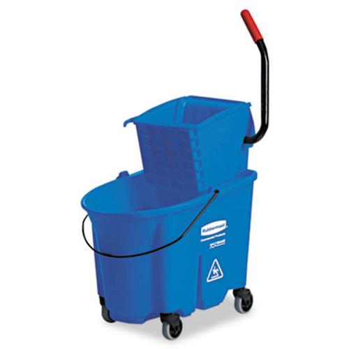 Rubbermaid Commercial WaveBrake Side-Press Wringer/Bucket Combo, 8.75gal, Blue (RCP 7588-88 BLU)
