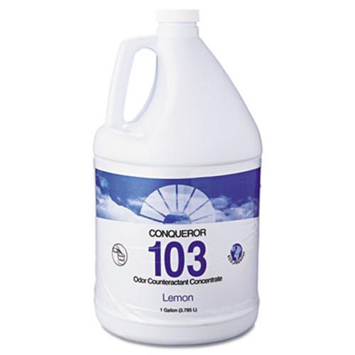 Fresh Products Conqueror 103 Odor Counteractant Concentrate  Lemon  1 gal Bottle  4 Carton (FRS 1-WB-LE)