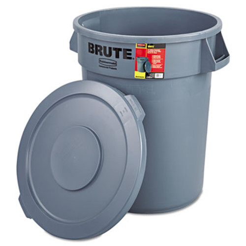 RubbermaidA Commercial Brute Container with Lid, Round, Plastic, 32 gal, Gray (RCP 8632-92 GRA)