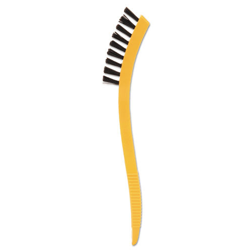 Rubbermaid Commercial Synthetic-Fill Tile   Grout Brush  8 1 2  Long  Yellow Plastic Handle (RCP 9B56 BLA)