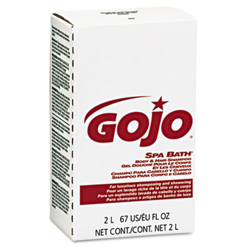 GOJO Spa Bath Body & Hair Shampoo, Herbal, Rose Color, 2000mL Refill, 4/Carton (GOJ 2252)