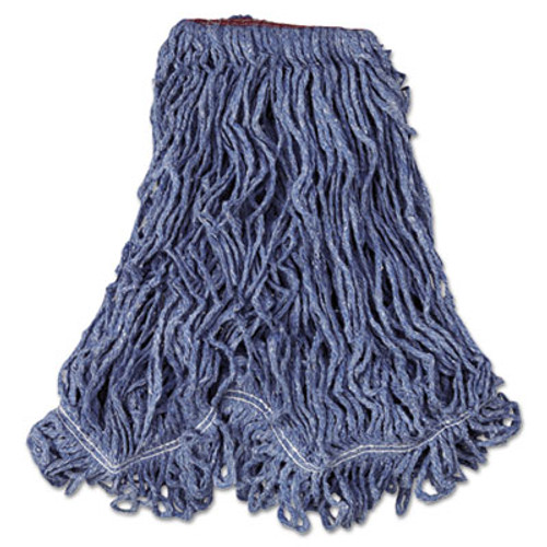 Rubbermaid Commercial Super Stitch Blend Mop Head  Large  Cotton Synthetic  Blue  6 Carton (RCP D213 BLU)