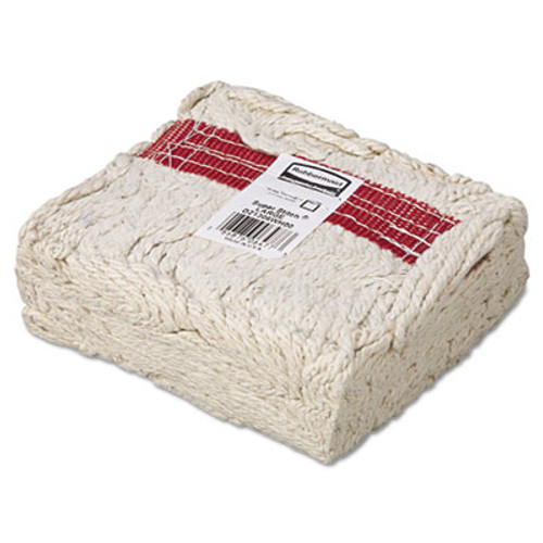 Rubbermaid Commercial Super Stitch Blend Mop Head  Large  Cotton Synthetic  White  6 Carton (RCP D213 WHI)