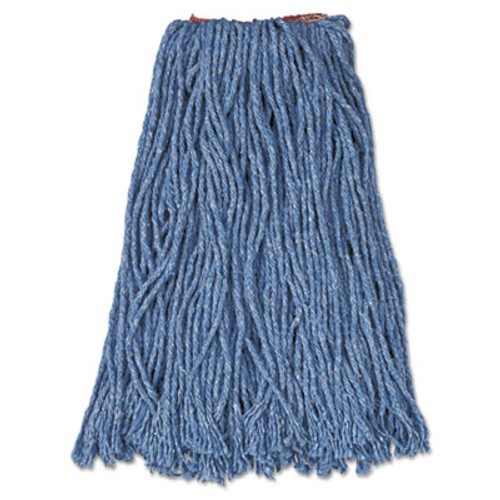 Rubbermaid Commercial Cotton Synthetic Cut-End Blend Mop Head  16 oz  1  Band  Blue  12 Carton (RCP F516-12 BLU)