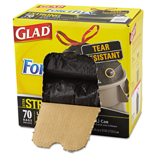 Glad ForceFlexPlus Drawstring Large Trash Bags  30 gal  1 05 mil  30  x 32   Black  70 Box (CLO 70358)