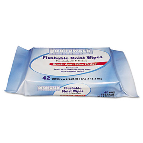 Boardwalk Flushable Moist Wipes, Refill, 7 x 5 1/4, Fresh Scent, 42/Pack (BWK 357-WR)