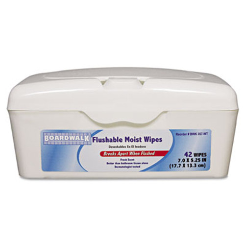 Boardwalk Flushable Moist Wipes, 7 x 5 1/4, Fresh Scent, 42/Tub (BWK 357-WT)