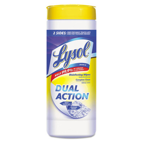 LYSOL Brand Disinfecting Wipes, Dual Action, Citrus, 7 x 8, 35/Canister (REC 81143)