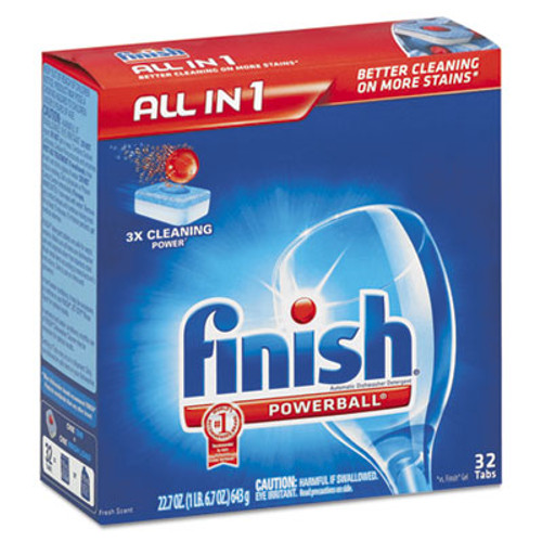 FINISH Powerball Dishwasher Tabs, Fresh Scent, 32/Box (REC 81049)