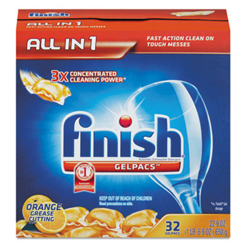 FINISH Dish Detergent Gelpacs  Orange Scent  32 Box (REC 81053)