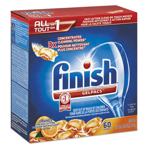 FINISH Dish Detergent Gelpacs, Orange Scent, Box of 60 Gelpacs (REC 81181)
