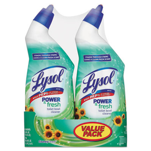 LYSOL Brand Power & Fresh Toilet Bowl Cleaner Cling Gel, Country Scent,24oz 2 Band Pk,6Pk/Ct (REC 82890)
