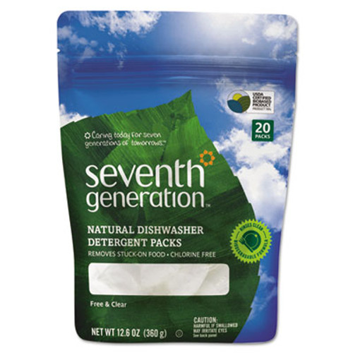 Seventh Generation Natural Dishwasher Detergent Concentrated Packs, Free & Clear, 20 Packets/Pack (SEV22818PK)
