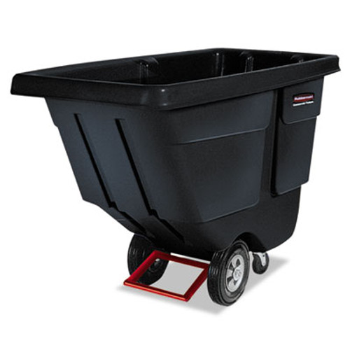 Rubbermaid Commercial Rotomolded Tilt Truck, Rectangular, Plastic, 850lb Cap, Black (RCP 1314 BLA)