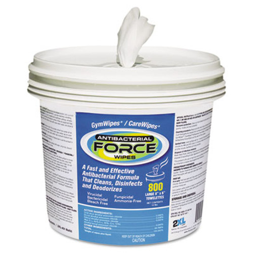 2XL Antibacterial FORCE Wipes, 8 x 6, White, 900 Wipes/Bucket, 2 Buckets/Carton (TXL L400)