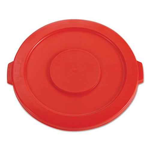"RubbermaidA Commercial Round Flat Top Lid, for 32 gal Round BRUTE Containers, 22.25"" diameter, Red (RCP 2631 RED)"