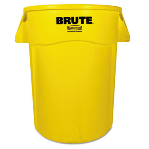 Rubbermaid Commercial Brute Vented Trash Receptacle, Round, 44 gal, Yellow (RCP 2643-60 YEL)