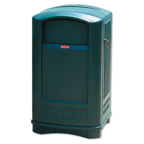 Rubbermaid Commercial Plaza Indoor/Outdoor Waste Container, Rectangular, Plastic, 50 gal, Green (RCP 3964 DGR)