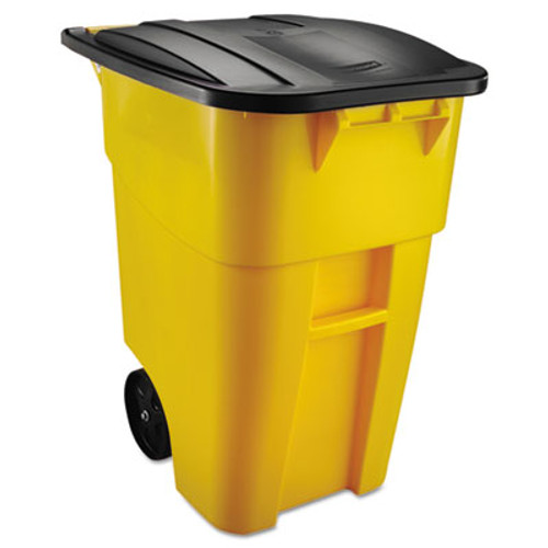 Rubbermaid Commercial Brute Rollout Container  Square  Plastic  50 gal  Yellow (RCP 9W27 YEL)
