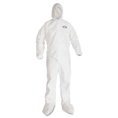 KleenGuard A40 Elastic-Cuff  Ankle  Hood and Boot Coveralls  X-Large  White  25 Carton (KCC 44334)