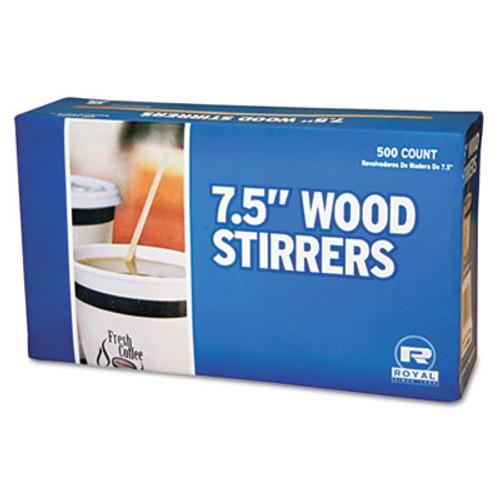 AmerCareRoyal Wood Coffee Stirrers  7 1 2  Long  Woodgrain  500 Stirrers Box  10 Boxes Carton (RPP R825)
