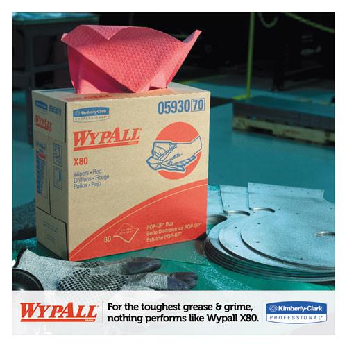 WypAll X80 Cloths with HYDROKNIT  9 1 x 16 8  Red  Pop-Up Box  80 Box  5 Box Carton (KCC 05930)
