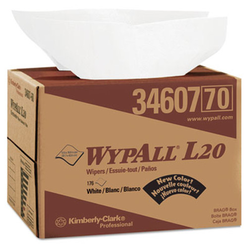 WypAll L20 Towels  Brag Box  12 1 2 x 16 4 5  Multi-Ply  White  176 Box (KCC 34607)