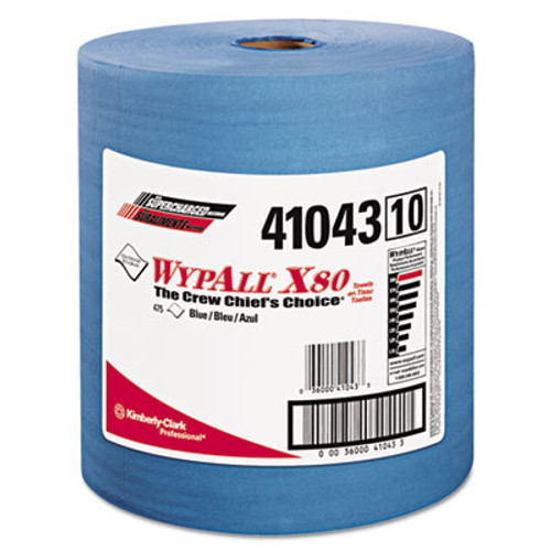 WypAll X80 Cloths with HYDROKNIT  Jumbo Roll  12 1 2 x 13 2 5  Blue  475 Roll (KCC 41043)