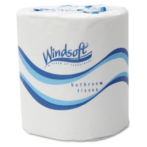Windsoft Bath Tissue  Septic Safe  2-Ply  White  4 5 x 3  500 Sheets Roll  48 Rolls Carton (WIN 2405)