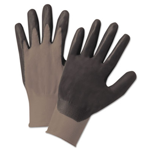 Anchor Brand Nitrile-Coated Gloves  Gray Black  Nylon Knit  Medium  12 Pairs (ANR6020M)