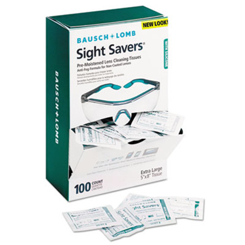 Bausch & Lomb Sight Savers Pre-Moistened Anti-Fog Tissues with Silicone, 100/Pack (BLO 8576)