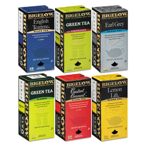 Bigelow Assorted Tea Packs  Six Flavors  28 Box  168 Carton (BTC 15577)