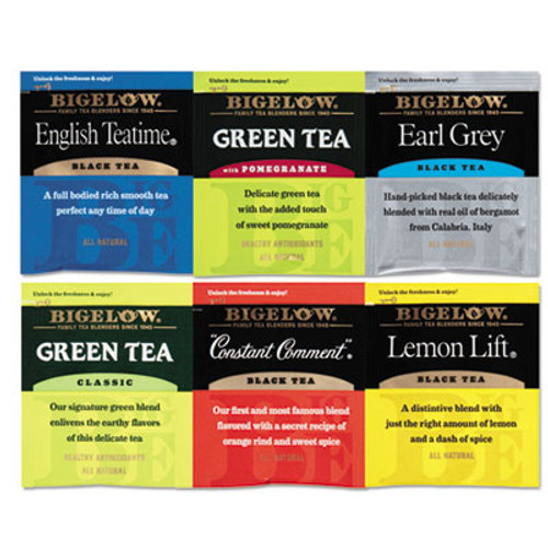 Bigelow Assorted Tea Packs, Six Flavors, 28/Box, 168/Carton (BTC 15577)