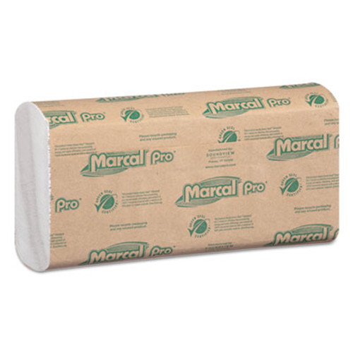 Marcal PRO 100  Recycled Folded Paper Towels  12 7 8x10 1 8 C-Fold  White 150 PK  16 PK CT (MAC P-100B)