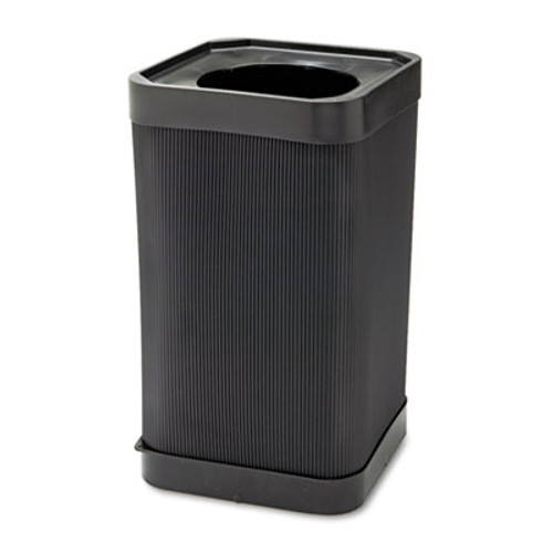Safco At-Your Disposal Top-Open Waste Receptacle, Square, Polyethylene, 38gal, Black (SFC 9790BL)