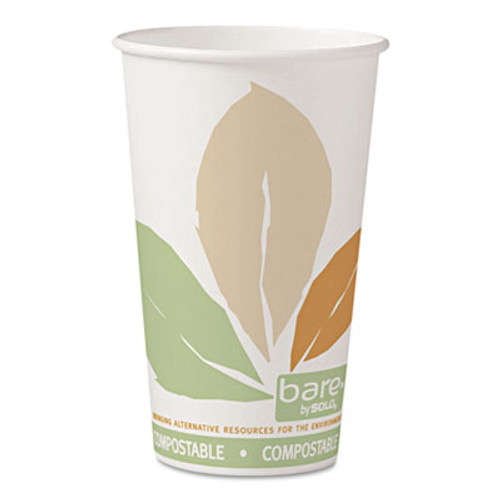 Dart Bare by Solo Eco-Forward PLA Paper Hot Cups  Leaf Design  16 oz  1000 Carton (SCC 316PLA-BB)