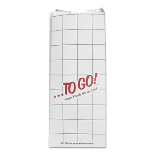 Bagcraft ToGo  Foil Insulator Deli and Sandwich Bags  6  x 14   White  To Go  Design  500 Carton (BGC 300507)