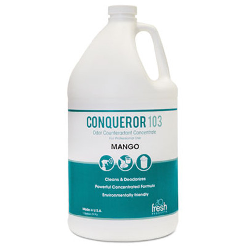 Fresh Products Conqueror 103 Odor Counteractant Concentrate  Mango  1 gal Bottle  4 Carton (FRS 1-WB-MG)
