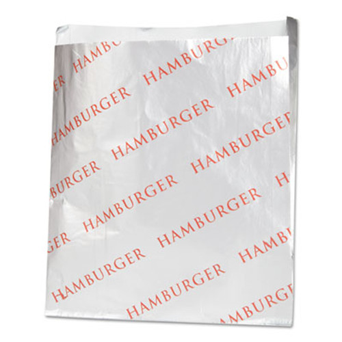 Bagcraft Foil Single-Serve Bags  6  x 6 5   Silver  Hamburger Design  1 000 Carton (BGC 300527)
