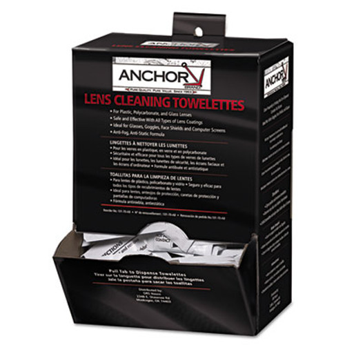 Anchor Brand Lens Cleaning Towelettes  5 in x 8   White  100 Box (ANR70AB)